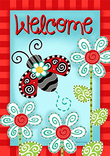 Ladybug Welcome Spring Garden Flag Flowers 12.5