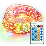 Outdoor String Lights - TaoTronics Dimmable LED String Lights - Multicolor Firefly Lights with 33 ft Copper Wire & Remote Control