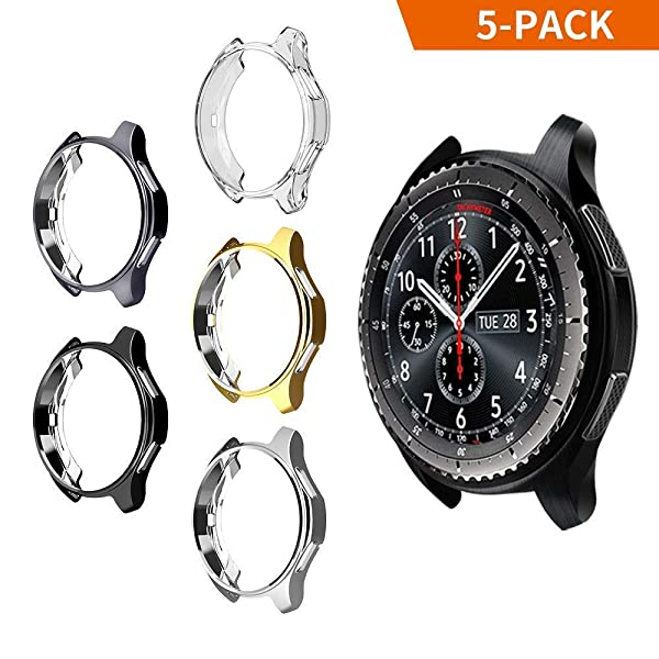 iHYQ Case for Samsung Gear S3 Frontier SM-R760,TPU Scractch-Resist Shock-Proof All-Around Protective Bumper Shell Protective Band Galaxy Watch SM-R800 46mm Smartwatch (5 Pack) (Color: 5-Pack, Tamaño: 46mm)