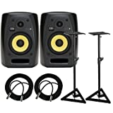 KRK VXT4 Active Studio Monitor - 4 Inch, 45 Watts (PAIR) / FREE Samson SAMS200 Heavy Duty Monitor Stands (Set of 2) and (2) XLR Cables 18ft each