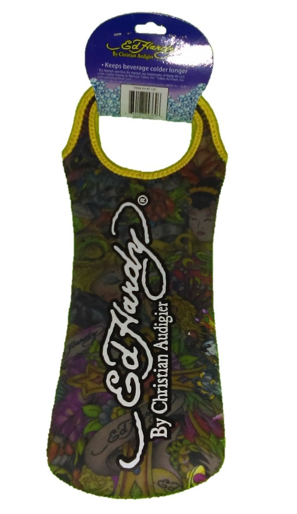 Ed Hardy Designs By Christian Audigier Neoprene One-Bottle Wine Beverage Tote (Tattoo Cross)
