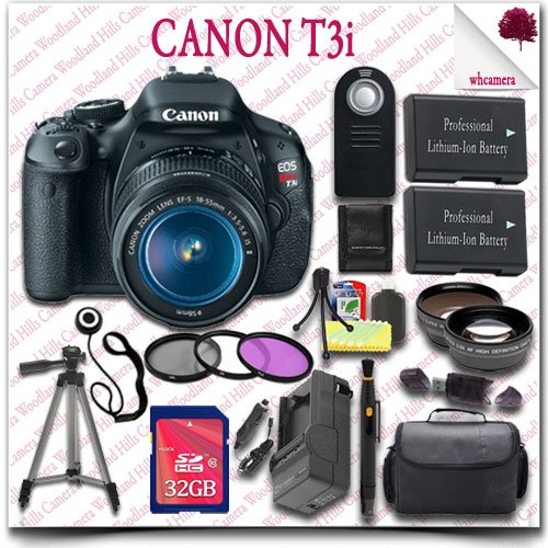 "Canon Eos Rebel T3I Camera With Ef-S 18-55Mm Is Ii Lens + Wireless Remote + Wide Angle Lens / Telephoto Lens + 3Pc Filter Kit + 32Gb Sdhc Class 10 Card + Slr Gadget Bag + 57"" Tripod 21Pc Canon Saver Bundle"