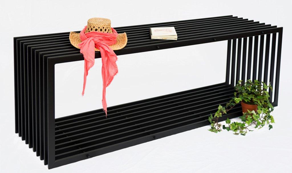 Bank D-Stil 150cm Modern Gartenbank 10103 Sitzbank aus Metall Eisen Blumenbank günstig kaufen