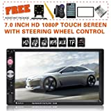 Upgraded 7 Inch Double Din Touch Screen Car Stereo Headunit with Free Rear Camera and Steering Wheel Control and Car Tuning Tools and Remote Control Support Mirror Link Audio Receiver MP5 Player (Color: Bluetooth with Rear Camera)