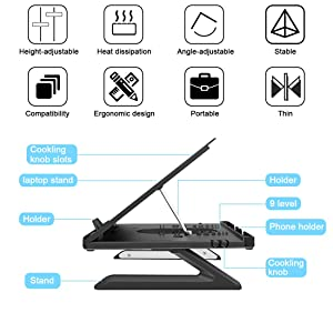 Homder Laptop Stand,Multi-Angle Adjustable Laptop Stand with Heat-Vent, Ergonomic Portable Foldable Laptop Riser for Desk Compatible with MacBook, Air, Pro,Surface Laptop up to 15 inches (Color: Black, Tamaño: 11*11*0.79'')