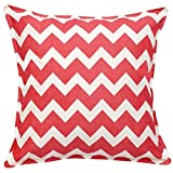 Devam Pink Zig Zag Cushion Cover With Zippered Closure