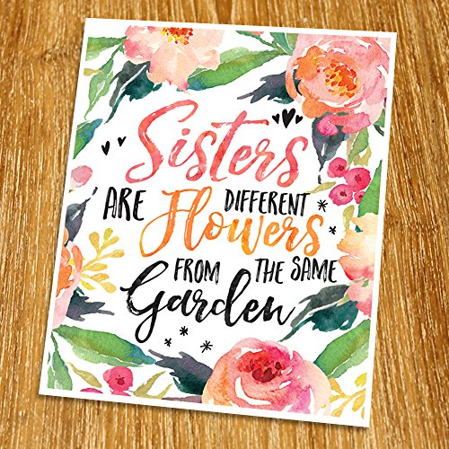 sisters-are-different-flowers-print-unframed-inspirational-print-living-room-decor-nursery-wall-art-