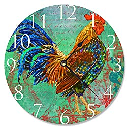 The Stupell Home Decor Collection Rainbow Rooster Decorative Vanity Wall Clock