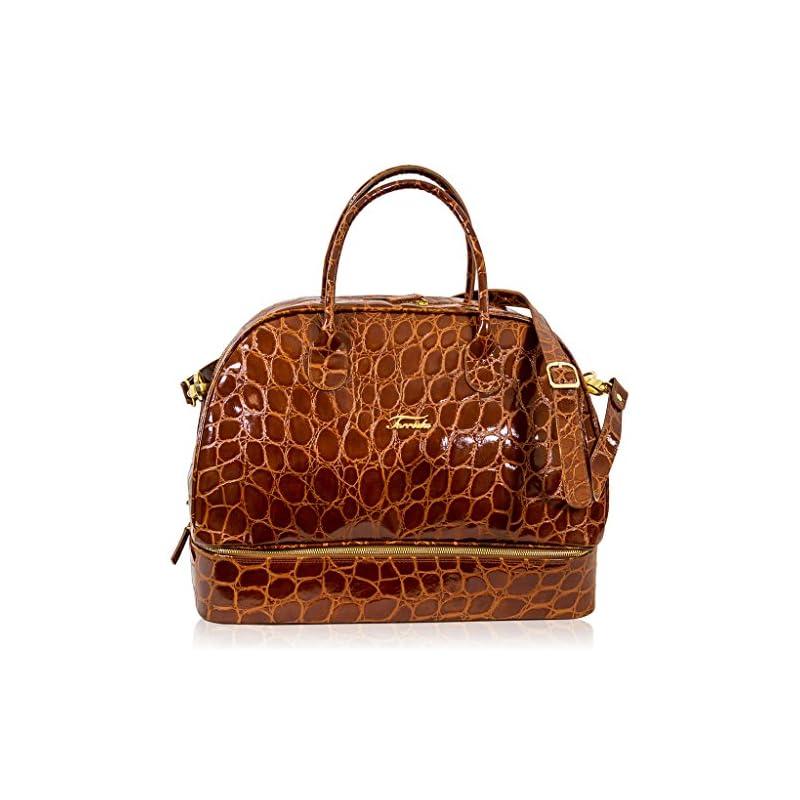 Terrida Designer Italien Caramel Croc Leather Duffle Bag W / Chaussures Compartiment