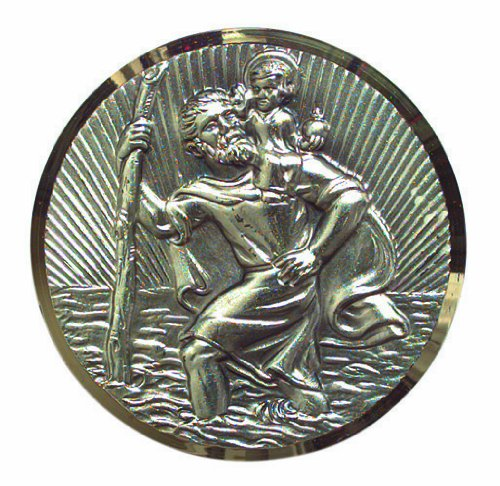 Cartrend 60152 Médaille de Saint-Christophe plaquée argent avec filigrane coupé en diamant