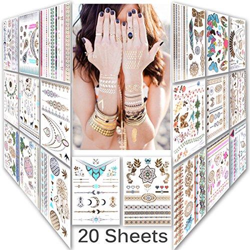 lady-up-mix-style-20-sheet-150-designs-body-art-temporary-tattoos-paperpremium-metallic-flash-gold-s