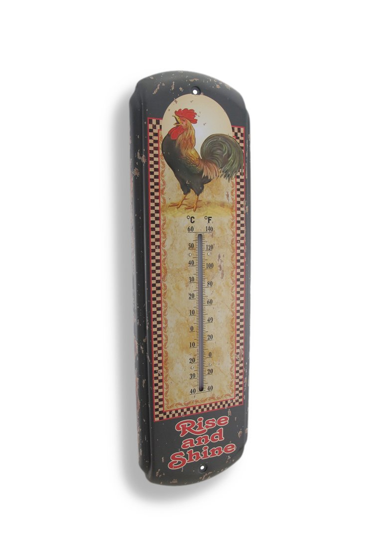 Rise and Shine Rooster Vintage Style Thermometer 0