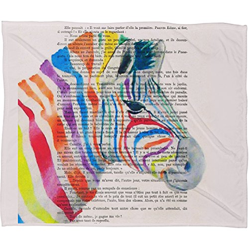 "DENY Designs Coco De Paris Fleece Throw Blanket, Rainbow Zebra Head, Large 80"" X 60"""