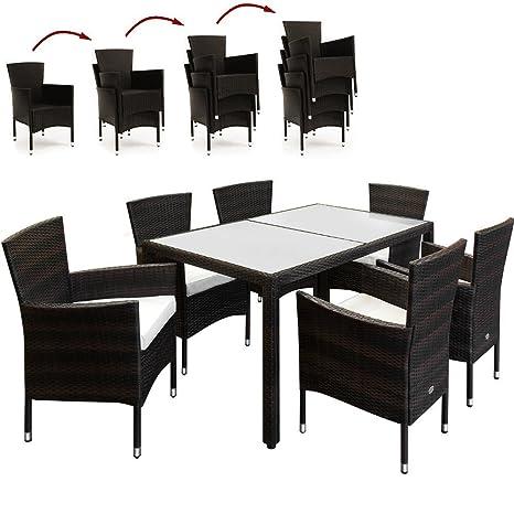 SSITG Poly Rattan Sitzgruppe Gartengarnitur Sitzgarnitur Gartenmöbel Gartenset 6+1
