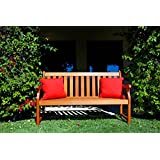 Vifah V023-1 Outdoor Baltic Wood Garden Bench with Slatted Back, 5-Feet
