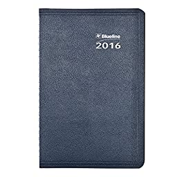 Blueline 2016 Net Zero Carbon Daily Planner, Twin-Wire Binding, Soft Navy Cover, 8\