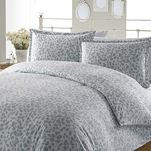 Laura Ashley Leaves Flannel Duvet Cover Set, Full/Queen, Aqua front-873061