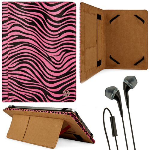Black & Pink Zebra Design Vg Faux Leather Standing Portfolio Case Cover For Lenovo Thinkpad 2 / Lenovo Ideapad S2110 / Lenovo Ideatab S6000 10.1 Inch Tablet + Black Handsfree Hifi Noise Isolating Stereo Headphones With Windscreen Microphone And Soft Silic front-1037406