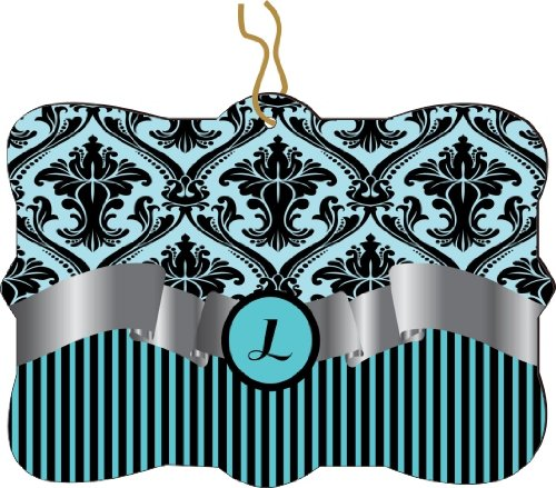 "Rikki Knighttm Letter ""L"" Initial Sky Blue Damask And Stripes Monogrammed Design Tree Ornament / Car Rear View Mirror Hanger front-638444"