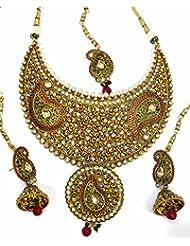 Shingar Jewellery Antique Gold Kundan Polki Bridal Look Necklace Set For Women (6283-ja-a)