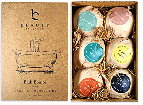 Bath Bomb Gift Set - 6 Pack of Large Organic Bath Fizzies - Lush, Luxurious and Fizzy Healing Soak Bombs with Essential Oils, Shea Butter and Epsom Salts - Moisturizing & Perfect Gift Idea - USA Made