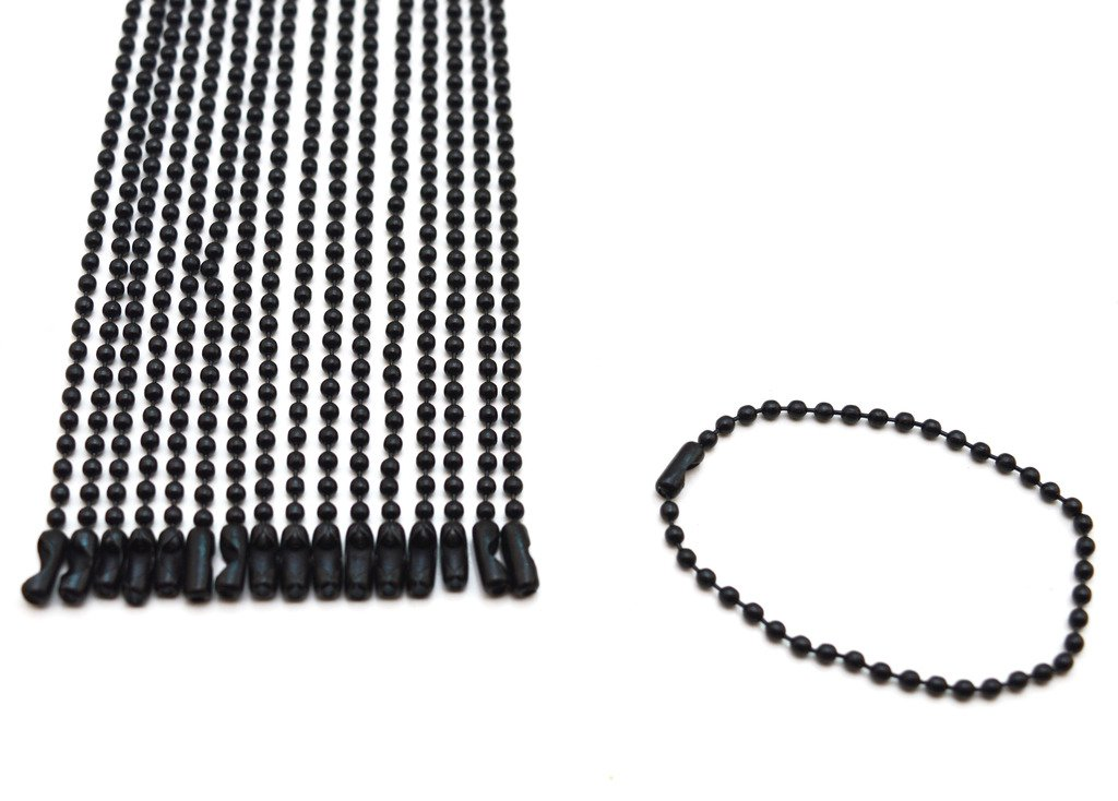 Amanaote Black 2 mm Diameter Ball Chain 150 mm Length Metal Bead Chain for Pendant Pack of 30