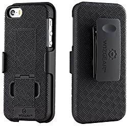 iPhone SE Holster, WizGear Shell Holster Combo Case for iPhone SE / 5 / 5S With Kick-Stand and Belt Clip - Black