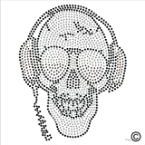 Rhinestone Diamante Crystal Iron On T Shirt Design Transfer - Headphone SKULL