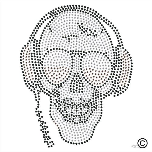 Rhinestone Diamante Crystal Iron On T Shirt Design Transfer - Headphone Skull