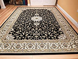 New Traditional Rugs Medallion 8x10 Area Rugs Clearance Black Cream Beige Green Persian Rugs For Living Room Rug, Large 8x11 Carpet