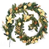 WeRChristmas 9 ft Decorated Pre-Lit Garland Christmas Decoration Illuminated with 40 Warm White LED Lights, Cream/ Gold