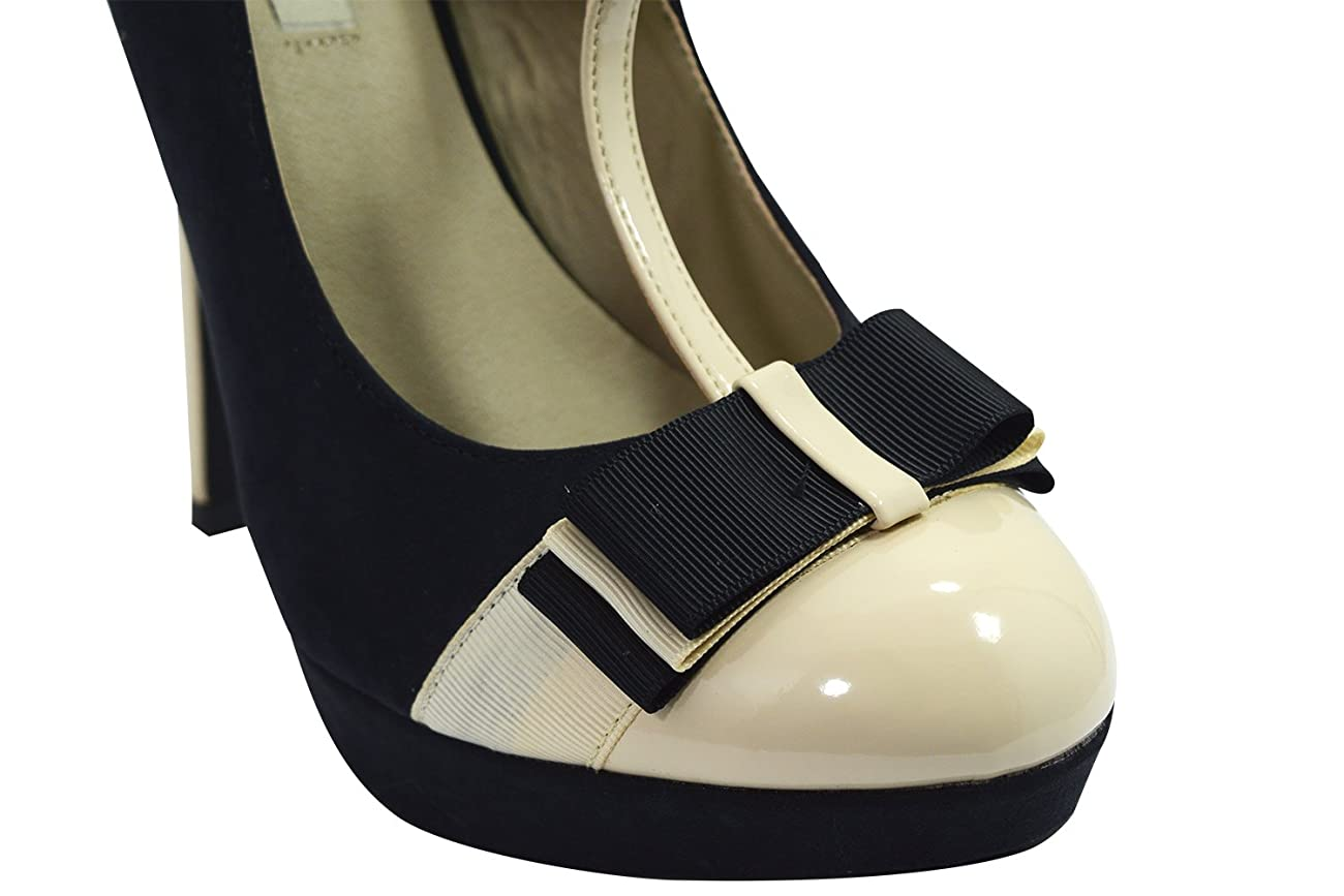 Vintage Inspired Retro Pin-up Black & Cream Two Tone Bow Accent T-strap Mary Jane Platform Stiletto Pumps 4