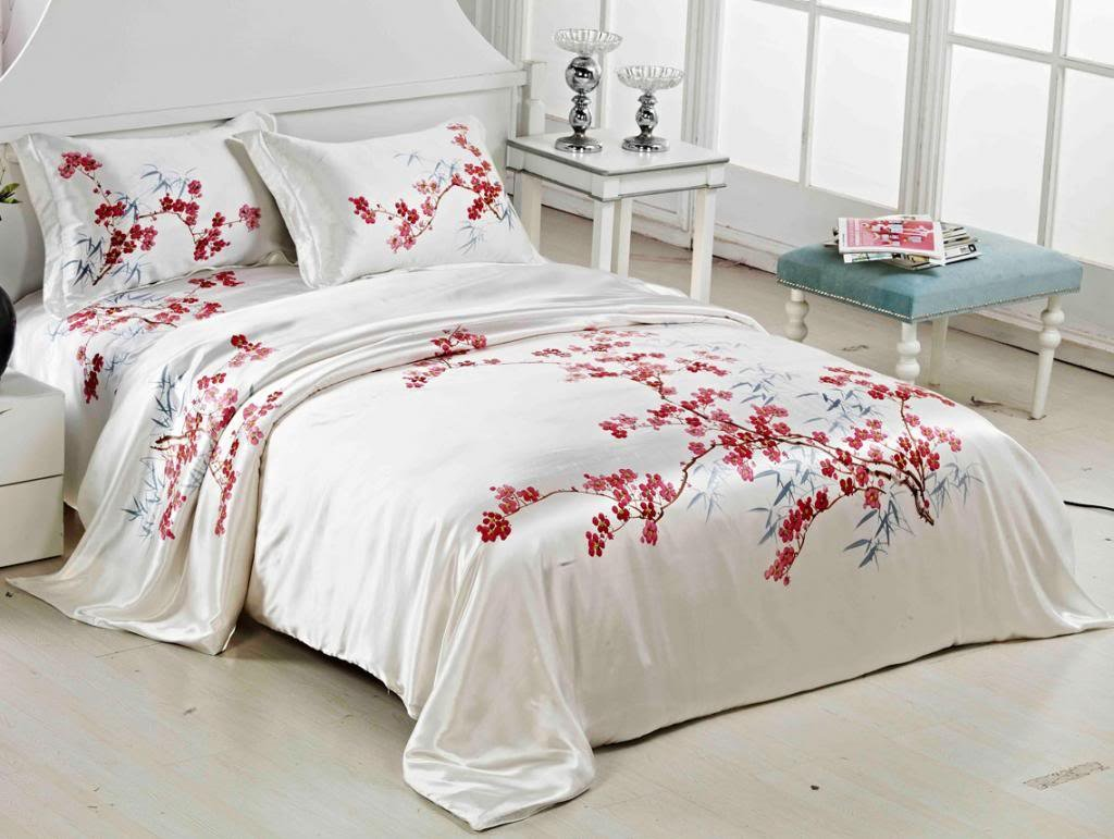 Orifashion Luxury 5 Pieces 100% Silk Charmeuse Bedding Set, Classic Hand Painted Plum Blossom And Bamboo (Model BSSJSL010), California King Size