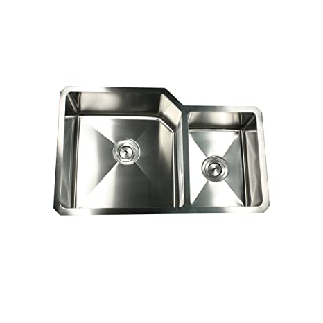 Nantucket Sinks ZR3220-SR 32-Inch  Pro Series 70/30 Double Bowl Undermount Kitchen Sink, Stainless Steel