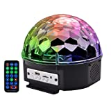 Disco Ball Party Stage Lights,AVEKI LED 9 Color Bluetooth Speaker DJ Stage Rotating Lights with Remote Control, Crystal Magic Super Bright Strobe Light for Home Kids Party Wedding Decor (Black) (Color: Black)