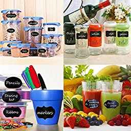 Wuudi Premium Reusable Chalkboard Labels Chalk Stickers for Mason Jars, Canning or Bakery Supplies, Kitchen Pantry Storage & Canister Sets for Your Home and Office-80 Pack+2 Liquid Chalk Markers