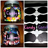 80 Chalkboard Labels for Mason Jars, Organize Kitchen & Pantry, DIY Paper crafts - Reusable adhesive Stickers - 7 Fancy Designs - 3.2 x 2 inch