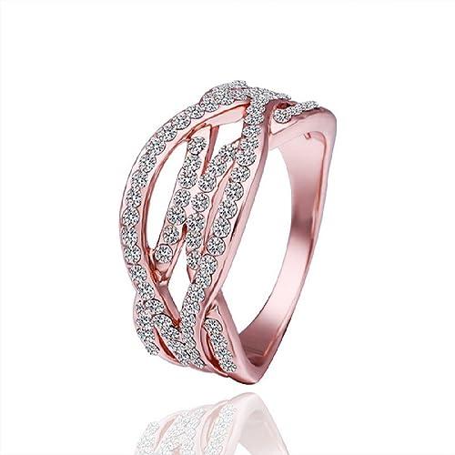 Hot-Style-Noble-Jewelry-18K-Gold-Plated-Fashion-Women-Ring-Twist-Strip-Zircon-Size-8