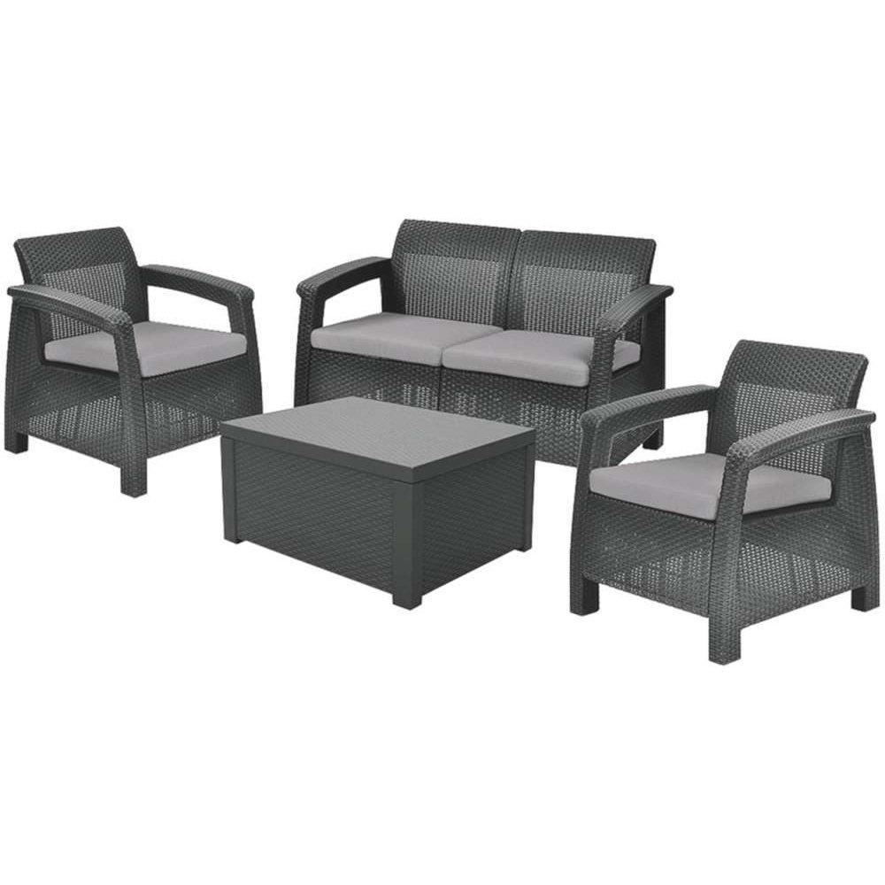 JUSThome Corfu Set Box Gartenmöbel Sitzgruppe Gartengarnitur 2x Sessel + 1x Sofa + Tisch in Rattan-Optik Anthrazit Grau