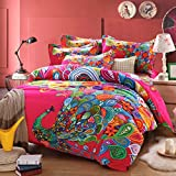 Luk Oil Home Textile Modern Design Colorful Peacock Printing Upgrade 100% Cotton Bedding Set Fashion Country Style Wedding Duvet Covers Set Flounce Bed Sheets Queen Size 4Pcs