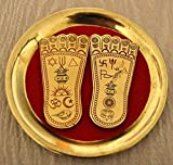 "Sri laxmi lakshmi charan paduka laxmi's feet Beautifully handcrafted enameled 3-3.5"" amulet lucky charm or yantra - For immense wealth prosperity - USA seller"
