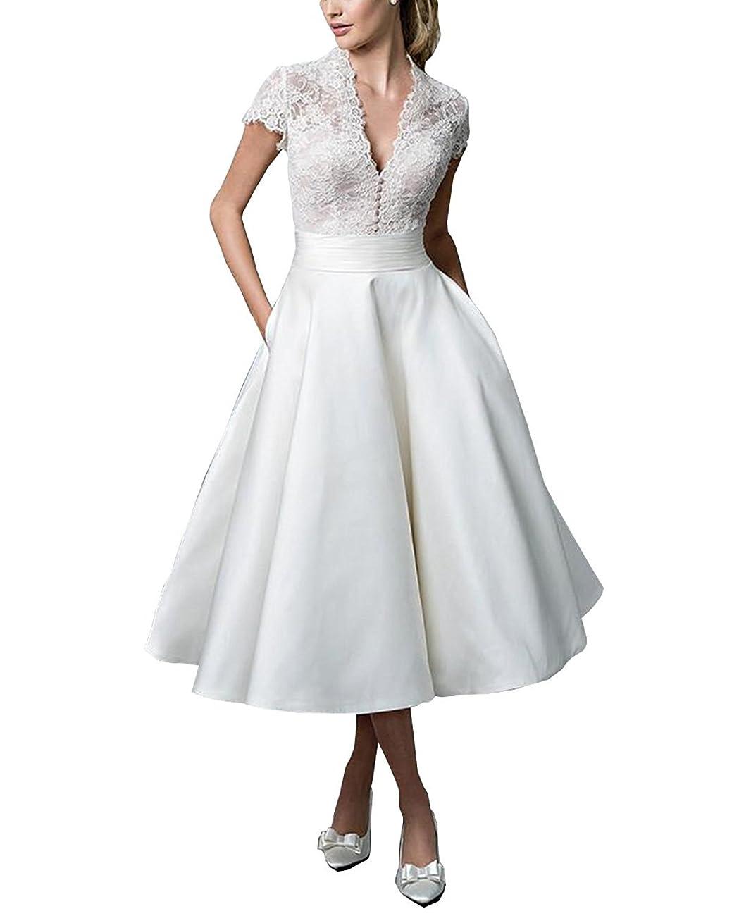 Fashionbride Women's Lace Tea Length A Line Vintage Wedding Dress Bridal Gown F364 0