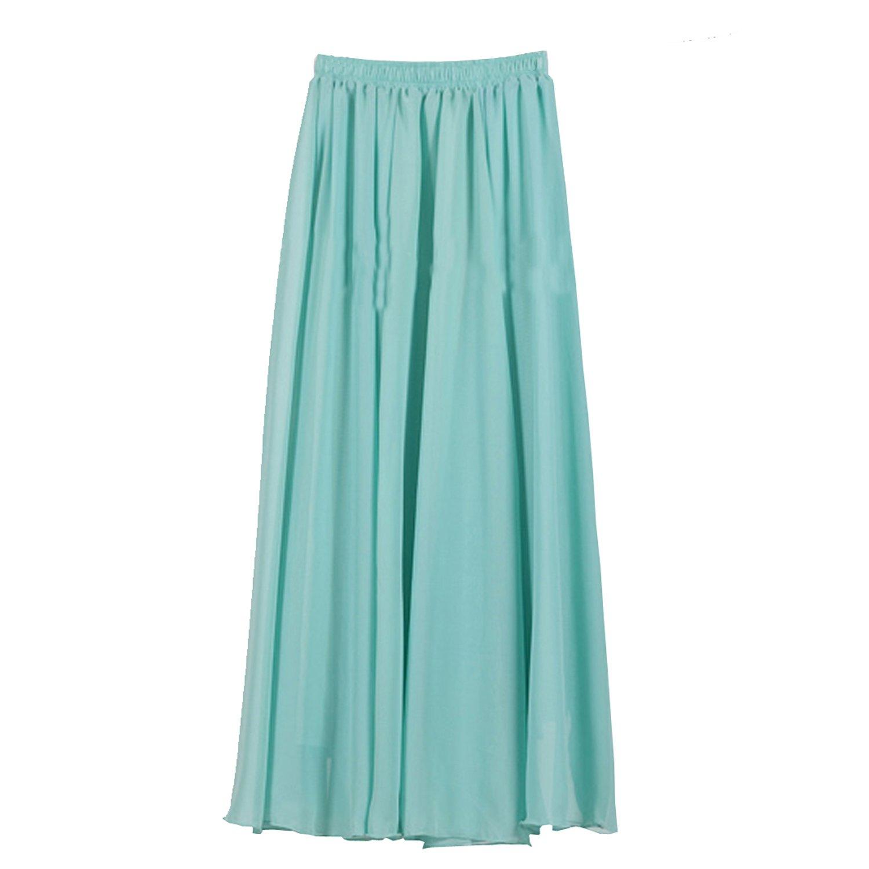 SUNNOW® 20 Farben Röcke Damen Korean Stil Boho Plissee Retro Maxi Rock Elastisch Bund Tanz-Kleid Party Frauen Chiffon Rock Lang günstig online kaufen