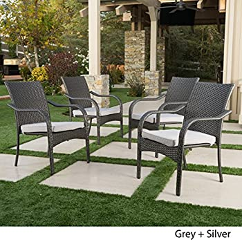 San Miguel Outdoor Patio Wicker Stacking Dining Chairs Set of 4 (Grey)