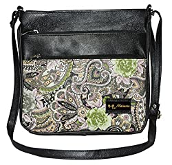 Maimona Sling bags Digitally Printed Multiple Pockets High Quality Leather Black Color