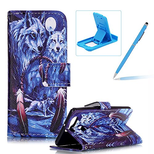 huawei-p9-leather-casehuawei-p9-carrying-wallet-pouch-coverherzzer-high-quality-elegant-wolf-campanu