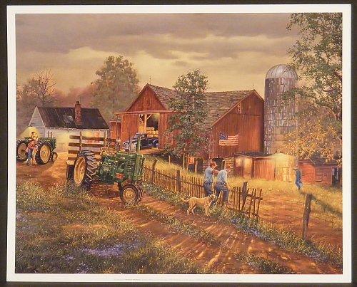 America's Heartland by Dave Barnhouse 16x20 John Deer Tractor Farm Barn Americana Unframed Art Print