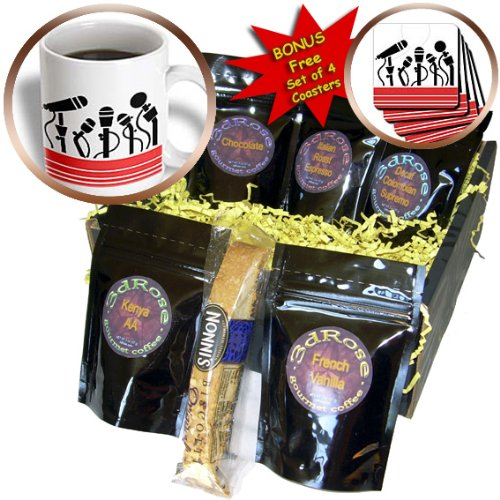 Cgb_43730_1 Florene Music - 5 Black Microphones On White - Coffee Gift Baskets - Coffee Gift Basket