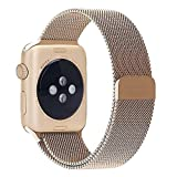 top4cus 38mm Milanese Double Electroplating Fully Magnetic Closure Clasp Mesh Loop Stainless Steel iWatch Band Replacement Bracelet Strap for Apple Watch Band All Model 38mm Series 1 and 2 - Gold
