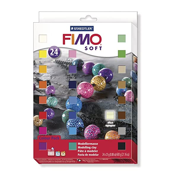 Staedtler Fimo Soft 8023 02 Oven Hardening Modelling Clay 24 Half Blocks Assorted Colours (Color: Assorted Colours, Tamaño: 24 X 25 G Blocks)